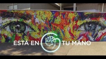 Así fue el proceso de creación de la obra ganadora  del concurso 'Está en tu mano' que ya luce en el mural exterior de Atresmedia
