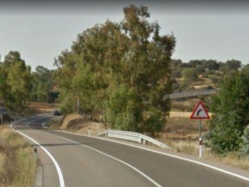 Curva peligrosa en el km 192 de la EX-103 en Badajoz