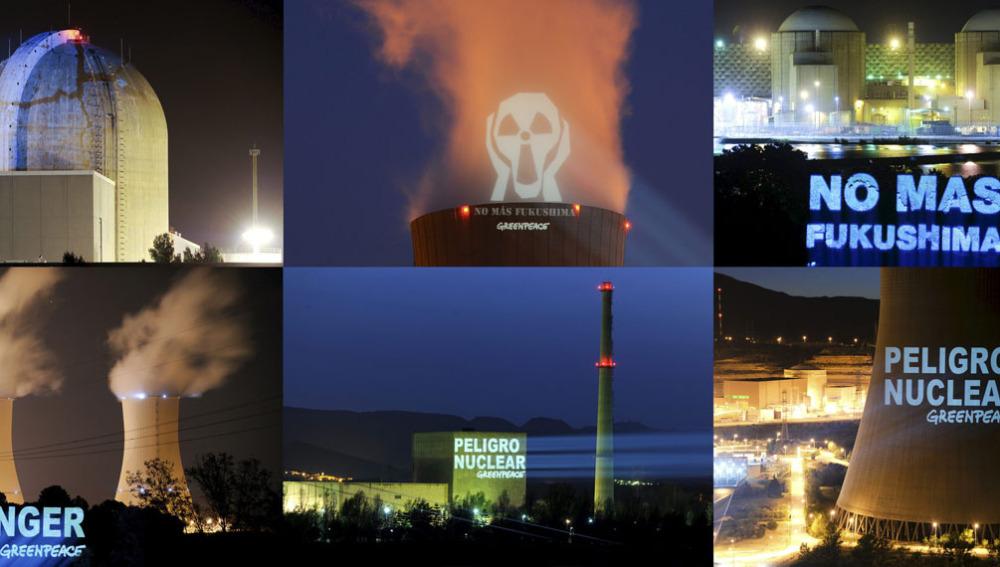 Imágenes de los mensajes proyectados por Greenpeace en seis centrales nucleares españolas