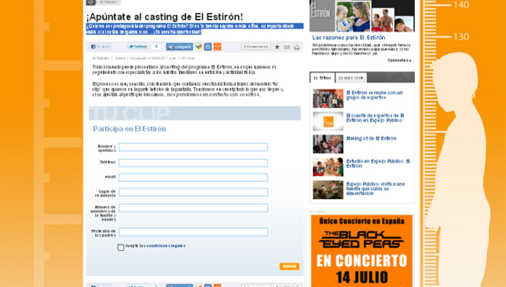 Pantallazo casting El Estirón