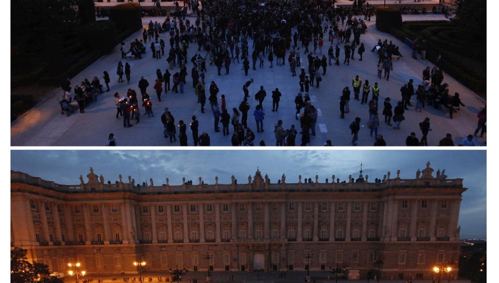 Palacio Real en Madrid durante la Hora del Planeta